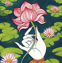 Reiki Training. Lotus Flower In Hand